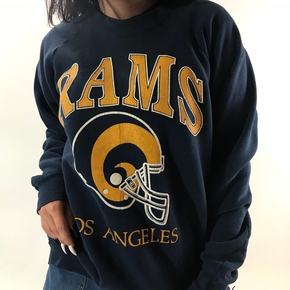 Women White and Blue LA Rams Crew Neck or V T Shirt LA Los Angeles Football